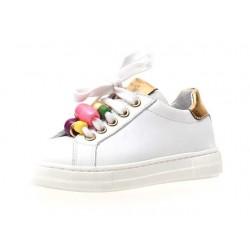 sneakersy Naturino 5074 vitello bianco-oro