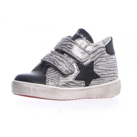 półbuty Naturino Dorrie Vl vit/zebra glitter nero-argento